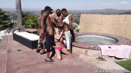 Top rated outdoor gangbang along slutty babe Britney Amber