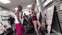 Cute blonde Alexa Grace gets throat fucked in an adult shop by BBC