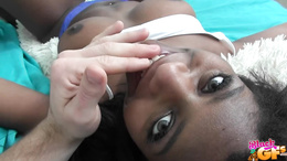 Ebony teen throats the white cock before letting it lose in her cunt