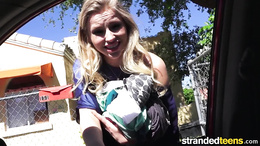 Gorgeous blonde amateur teen gets in a car and gies a hot blowjob