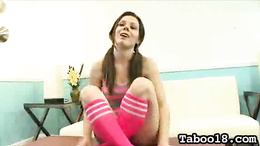 Excellent brunette nympho with pigtails rubs stepbrother's dick