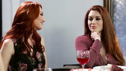 Kendra James gets her shaved pussy pleasured by redhead Kimmy Granger