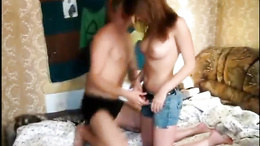 Stunning redhead teen blows her lover and then rides his hard cock