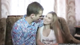 Amatuer teen couple gets horny after a walk and fucks on the couch