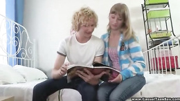 Awesome blonde teen helps step brother in study and blows his dick