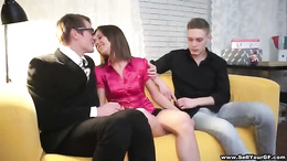 Hot chick gets her anal canal thoroughly fucked by two hunks