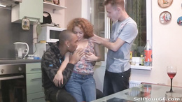 Foxy redhead teen with round booty gets pussy fucked by a black dude