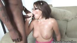 Sassy Nikki Anne gets covered in warm nob milk