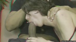 Exquisite brunette honey moaning as her tight cunt is delighted