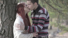 Young redhead skips school to go fuck in the park with a hot lad