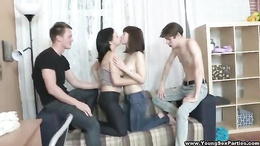 Amateur girls shaking some cocks in a real life cam foursome