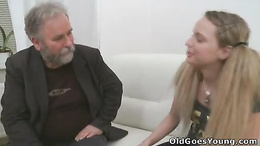 Mind blowing sex scenes with a slutty blonde and her boyfriend's daddy