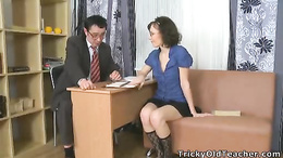 Alluring young coed seduces her teacher and sucks his dick vigorously