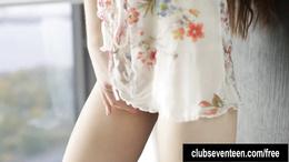 Sexy brunette teen masturbating