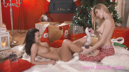 Lesbea Xmas girlfriend gets first time fuck