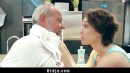 Bold beauty girl likes old man so seduces and fucks him