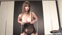 Busty Rita strip and toy pussy