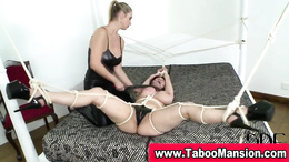 Lesbo mistress whips bound hoes big tits and toys pussy