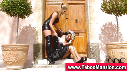 Lesbo domina spanks and gets pussy licked by bound maid