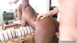Ebony babe Tori Taylor gets her tits glazed with cum