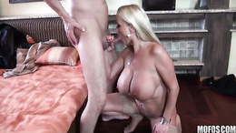 Sharon Pink tastes all she can with her mouth full of hard cock
