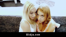 Sexy blonde teens rimming and double nursing oldman