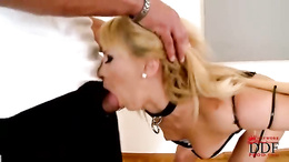 Bound blonde gets her mouth crammed with hard cock