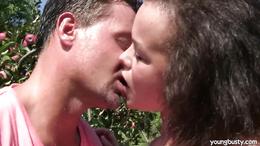 Hot brunette Linet gets big tits jizzed outdoors