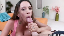 Ariella Ferrera shoves a hard dick down her throat