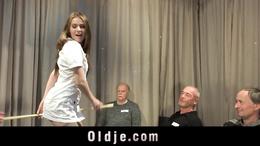 5 perverse old farts gang bang young blonde nurse