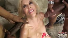 Red hot babe Erica Lauren gets splattered in man goo