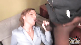Sky Rodgers brunette vacuum cleaning a hunk black