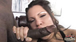Teri Weigel blowing a huge black cock on couch