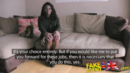 FakeAgentUK Stunning Ebony amateur deep throats bigcock