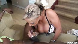 Brooke Jameson milf rubbing the cock of her black guy