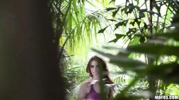 Anya Olsen caught masturbating outdoors in the woods
