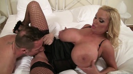 Sharon Pink rides cock as her huge tits bounce