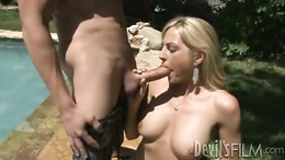 Raunchy Sindy Lang takes this hard dick down her throat