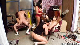 Horny Haley Sweet & Natasha Nice get pussy pounded