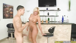 Sizzling blonde gets her shaven pussy hammered