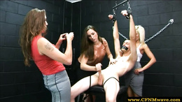 Hotties dominate their bound and gagged sub by tugging
