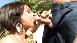 Hot babe Tory Lane loves filling her mouth with cock while she's outside