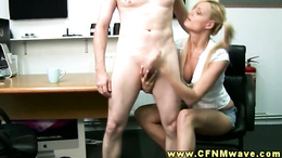 CFNM blonde tugs and blows her stud