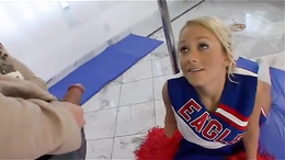 Flexible busty teen cheerleader sucks & fucks big-dick