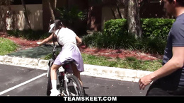 Cute Asian slut cannot ride a bicycle but know how to ride a cock