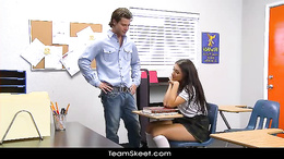 White teacher gets his dick pleased with tight pussy fucking in class