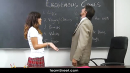 Latina with hot pussy in sexy schoolgirl uniform rides a teacher dick