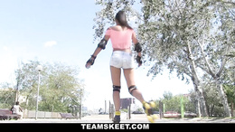 Cute teen picked up on street and fucked wearing her rollerskates
