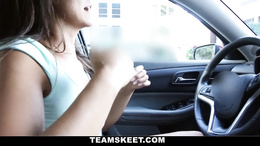 Anxious teen hottie drives home to a stud waiting to pound her