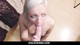 Step sister gets naughty on cock by sucking it and slamming it deep into her cunt